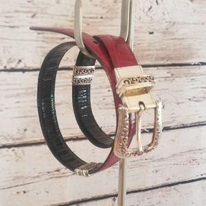 Brighton Reversible Black & Red Croc Leather Belt